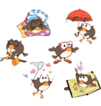 Set of cute owls for you design vector image vector image