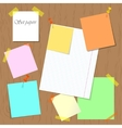 Set of papers pinned and attached to the board vector image vector image