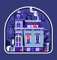 spooky house halloween sticker vector image vector image