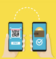 transfer money by qr code mobile payment vector image vector image