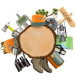 Wooden Board with Camping Accessories vector image