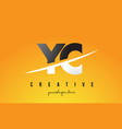 yc y c letter modern logo design with yellow vector image vector image