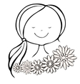 Head of pleased girl with closed eyes and flowers vector image