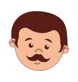 face man cartoon moustache isolated vector image