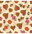 seamless pattern hearts and flowers vector image