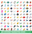 100 internet marketing icons set vector image