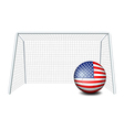 A soccer ball near the net with the flag of the vector image vector image