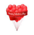 ballons in form of heart with red ribbon vector image