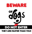 beware of dogs typographic design with light vector image