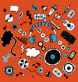 big doodle music banner complete collection of vector image