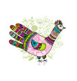 bird shape made from hand palm and fingers ornate vector image