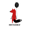 birthday card with red fox vector image