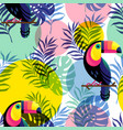 botanical seamless pattern with toucan vector image vector image