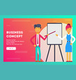 businessman and businesswoman show on white board vector image vector image