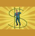 businessman behind bars money vector image vector image