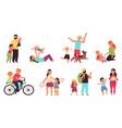 cartoon parents with children nurturing family vector image vector image
