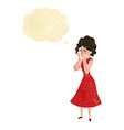 cartoon worried woman with thought bubble vector image vector image