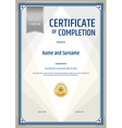 Certificate of completion template in portrait vector image vector image