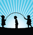 children play with rope silhouette vector image vector image