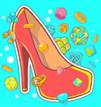 colorful of red womens shoes on blue backgr vector image vector image