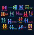 creative shape design corporate identity h icons vector image vector image