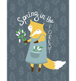 Cute card with fox and flowers Bright can be used vector image