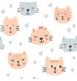 cute cats in glasses seamless pattern vector image vector image