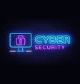 cyber security neon signboard internet vector image