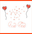 Doodle heart shaped balloons with lettering on