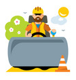 driver road roller flat style colorful vector image