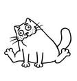 drunk cartoon happy fat cat isolated vector image