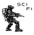 fantastic soldier aims from plasma rifle to enemy vector image vector image