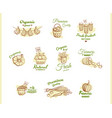 farmers market badges collection vector image vector image