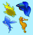 flying fish seahorse and other tropical fish vector image vector image