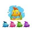 Funny cartoon yellow baby fish