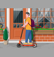 guy with backpack rolling on electric scooter vector image vector image