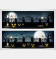 halloween night banners with scary pumpkins vector image vector image
