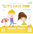 invitation card on summer beach party with vector image