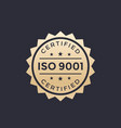 iso 9001 badge gold label vector image vector image