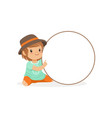 lovely girl character sitting with white circle vector image vector image
