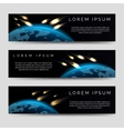 Meteor shower over globe map banners vector image vector image