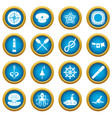 nautical icons blue circle set vector image vector image