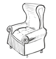 Old leather armchair vector image vector image