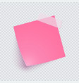 pink note paper and adhesive tape with shadow vector image vector image