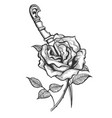 rose flower piersed by dagger tattoo vector image vector image