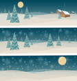 Set of three banners with winter night landscape vector image