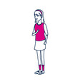 student girl teenager standing character person vector image vector image