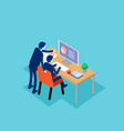 teamwork isometric with collaboration business vector image