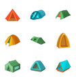 tent city icons set cartoon style vector image vector image