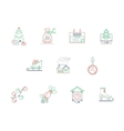 Winter theme color line icons collection vector image
